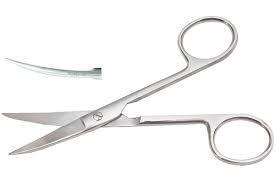Ножиці очні гострокінцеві  верт.зігнуті 113мм.