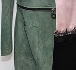 Кардиган женский, длинный/короткий, зеленый, фото 5
