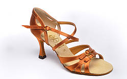 Туфли для танцев  женские Латино цвет бежевый 23,5 р 8см