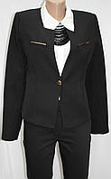 Пиджак черный женский, короткий, с золотистой планкой, Турция