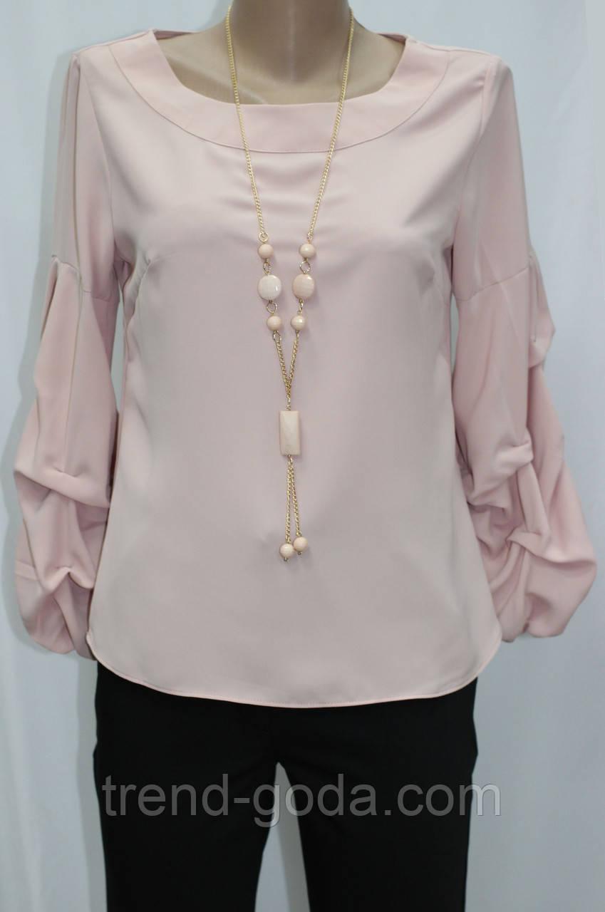 Блуза женская, присобран рукав, украшение, цвет пудра, Турция