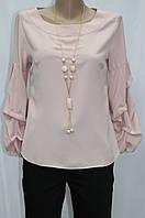Блуза женская, присобран рукав, украшение, цвет пудра, Турция, фото 1