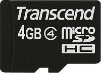 Карта памяти Transcend MicroSD 4GB class 4 + SD Adapter