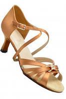 Туфли для танцев  женская Латина  бежевый сатин., фото 1