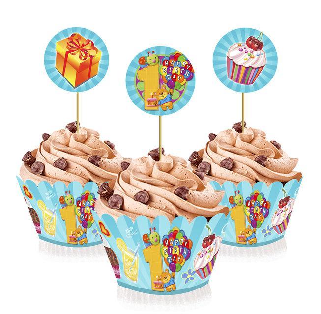 """Топперы для капкейков, десертов и кексов """"Первый годик мальчика"""", 6 шт./уп."""