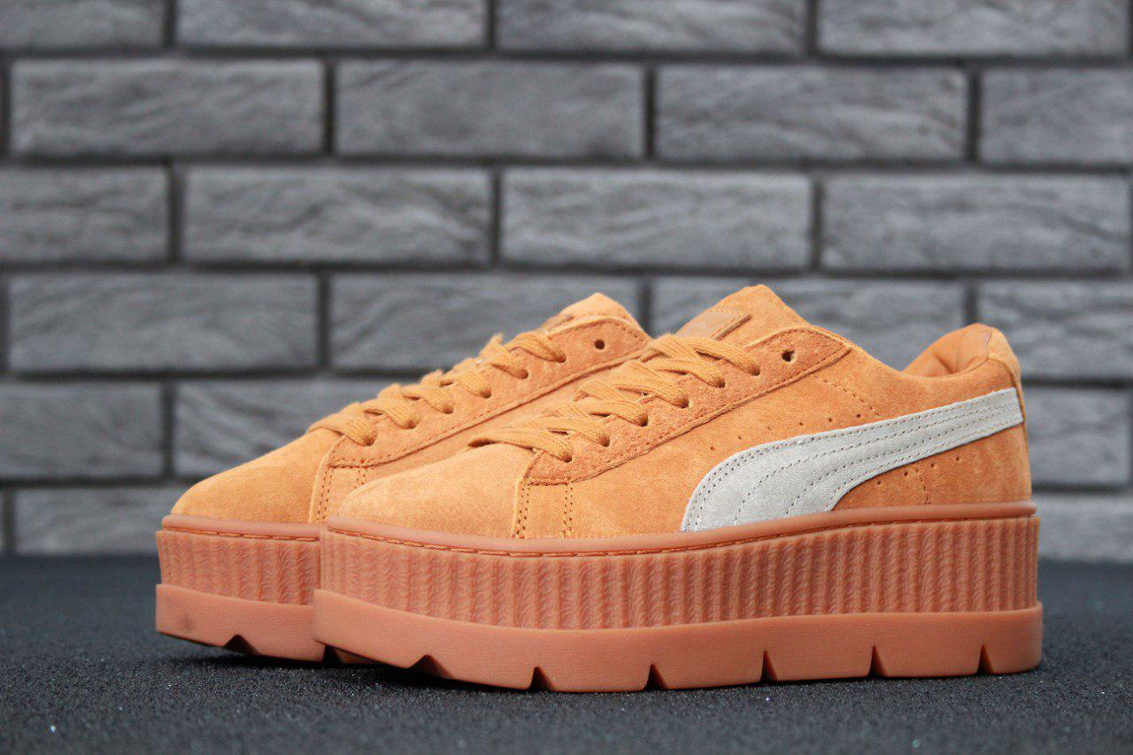 best sneakers ad7e7 c4bcf Кеды женские Rihanna x Puma Fenty Cleated Creeper Beige топ реплика