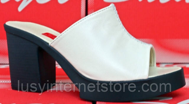 c0a820504 Летние сабо кожаные на каблуке, летняя женская обувь от производителя  модель СТЛ30 - Lusy в
