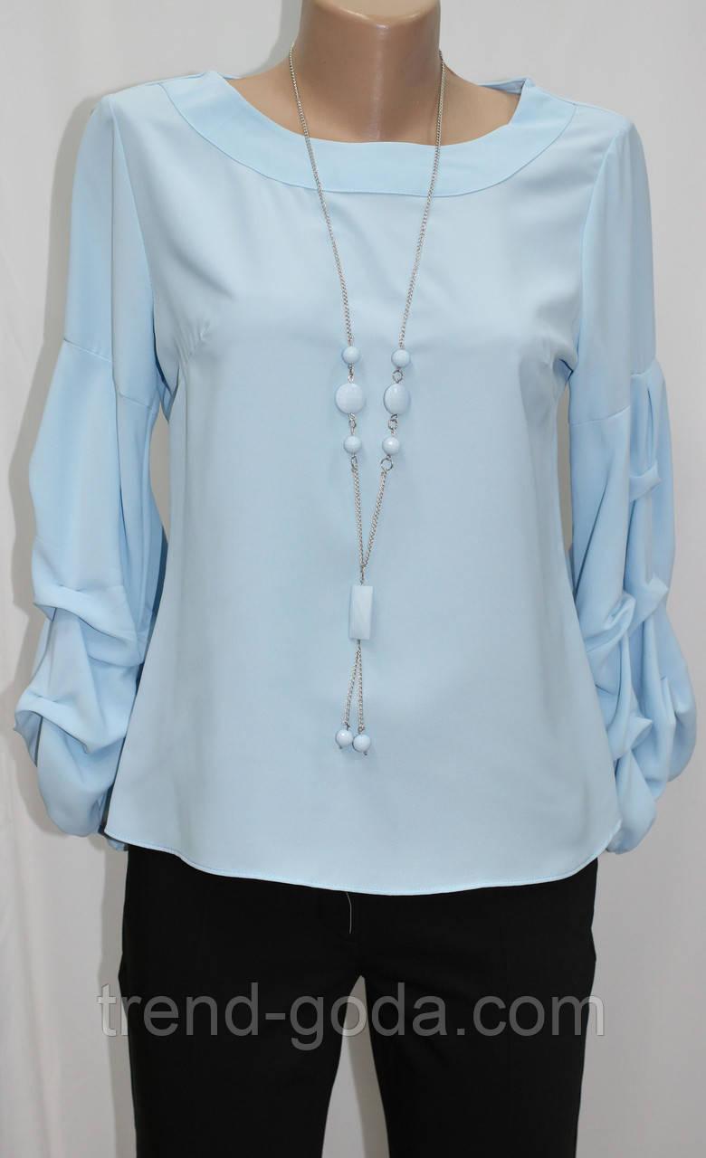Блуза женская,стильная голубая, присобран рукав, украшение, Турция