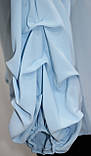 Блуза женская,стильная голубая, присобран рукав, украшение, Турция, фото 5