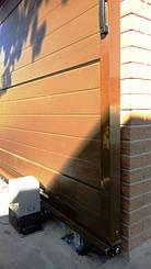 """Алюминиевые откатные ворота Алютех ADS 400 зашитые сендвич-панелями """"микроволна"""" 9"""