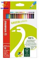 Карандаши 18 цветов STABILO GREEN Color