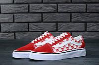 Мужские кеды Supreme x Vans Old Skool красные топ реплика