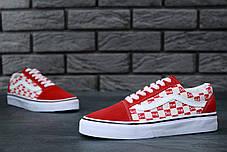 Чоловічі кеди Supreme x Vans Old Skool червоні топ репліка, фото 3