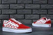 Чоловічі кеди Supreme x Vans Old Skool червоні топ репліка, фото 2