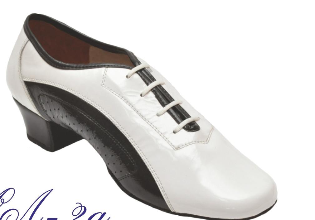 Туфли танцевальные мужские Латино  черно-белые из натуральной кожи, лака !