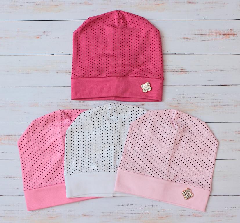 Трикотажные шапки на девочку Горошинки 48-50 см Светло-розовый