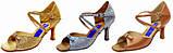 Туфли для танцев  женские Латина сатин, парча с простыми пряжками., фото 3