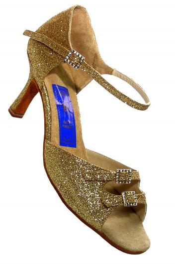 Туфли для танцев  женские Латина сатин, парча с простыми пряжками.