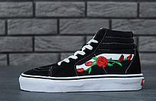 Мужские высокие кеды Vans SK8-HI Black White Rose топ реплика, фото 2