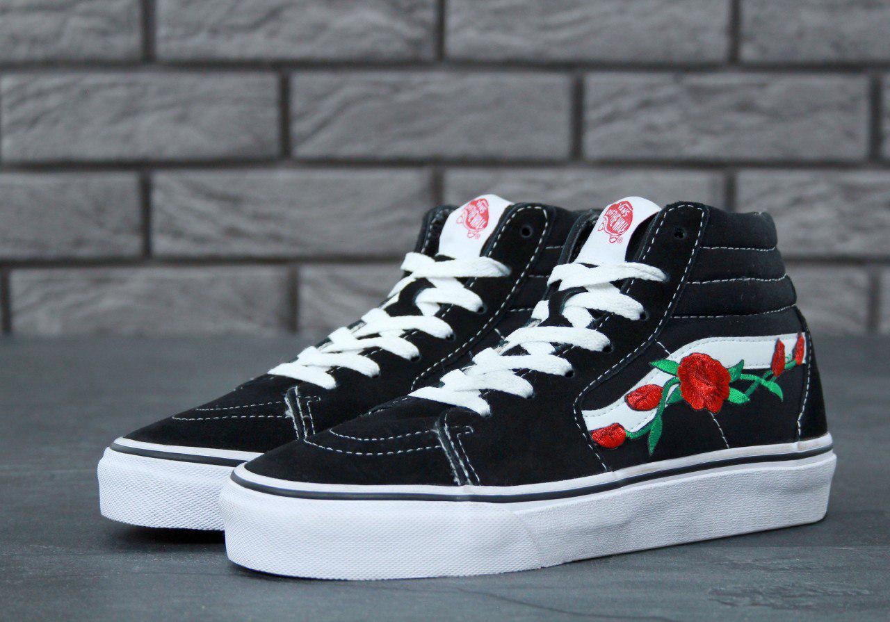 Мужские высокие кеды Vans SK8-HI Black White Rose топ реплика