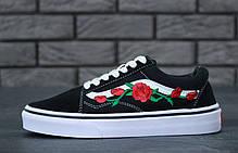 Женские кеды Vans Old Skool Rose черные с белым топ реплика, фото 2