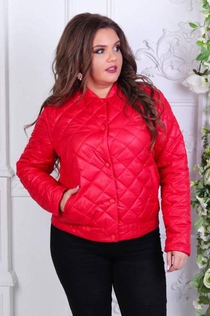 Куртка-БАТАЛ, женская 310, новинка 2018, цвет Красный