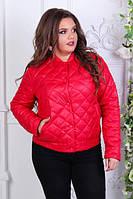 Куртка-БАТАЛ, женская 310, новинка 2018, цвет Красный, фото 1