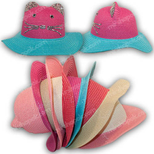 Детская соломенная шляпа с ушками, р. 50-52