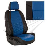 Чехлы на сиденья Газель NEXT (3 места) удлиненная спинка c 16г. (Экокожа Черный   Синий)