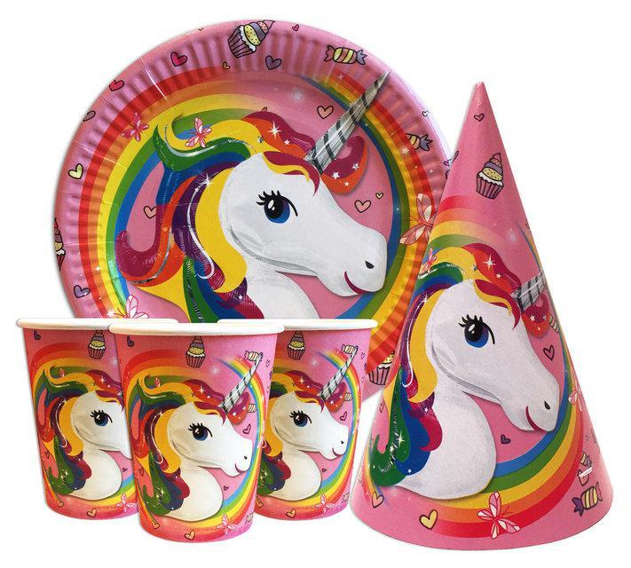 """Набор для детского дня рождения """"Единорог"""". Тарелки, стаканчики, колпачки по 10 шт."""