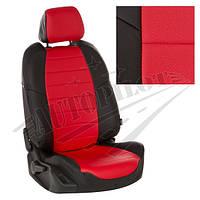 Чехлы на сиденья Volkswagen Т-5 / Т-6 (3 места) рестайлинг с 09г. (Экокожа Черный   Красный)