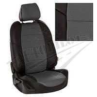 Чехлы на сиденья Volkswagen Т-5 / Т-6 (3 места) рестайлинг с 09г. (Экокожа Черный   Серый)
