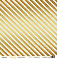 Бумага для скрапбукинга с золотым тиснением Golden Stripes Blue, 30х30 см
