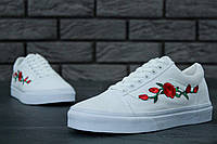 Кеды женские Vans Old Skool White Rose топ реплика