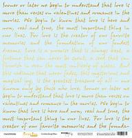 Бумага для скрапбукинга с золотым тиснением Golden Script Blue, 30х30 см