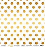Бумага для скрапбукинга с золотым тиснением Golden Dots White, 30х30 см