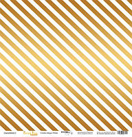 Бумага для скрапбукинга с золотым тиснением Golden Stripes White, 30х30 см