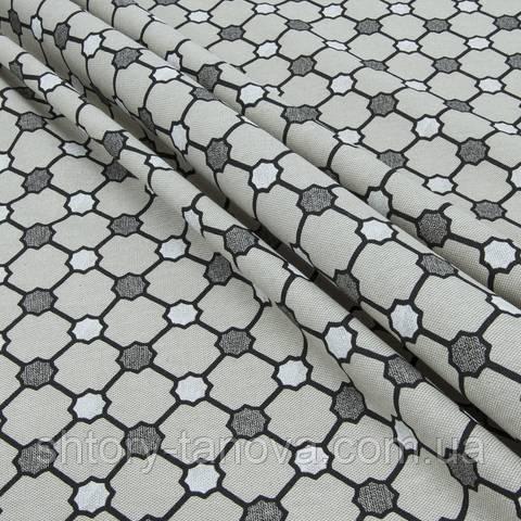 Декоративная ткань для штор, геометрический принт, бело-серый