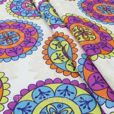 Декоративная ткань для штор, яркие круги