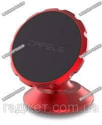 Магнитный держатель красного цвета для телефона в авто на скотче Cafele