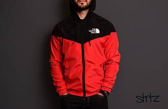 Мужская ветровка The North Face красного и черного цвета (люкс копия)