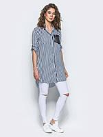 Стильная женская хлопковая длинная рубашка с рукавом 3/4 7029, фото 1