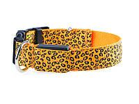 Светящийся светодиодный ошейник для собак Леопард XL 52-60см Оранжевый