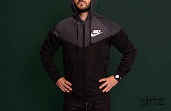 Мужская ветровка Nike серого и черного цвета