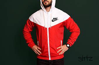 Мужская ветровка Nike белого и красного цвета