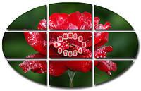 """Большая красивая картина-часы """"Роза"""" в форме элипса"""