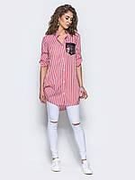 Стильная женская хлопковая длинная рубашка с рукавом 3/4 7029/1, фото 1
