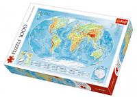 Пазл Физическая карта мира на англ. 1000 эл