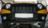 Декоративно-защитная сетка радиатора Jeep Compass фальшрадиаторная решетка, бампер, фото 1