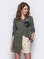 Стильная женская хлопковая длинная рубашка с рукавом 3/4 7029/2, фото 1